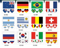 Wholesale Protection Stick - DHL SHIPPING Environmental protection waterproof sweaty flag tattoo paper Russian 2018 football world cup face stick fan Tattoo Sticker