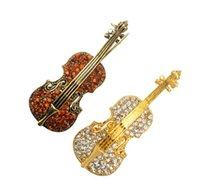 Wholesale High quality with diamond violin shaped brooch Alloy instrument violin pin Multicolor beautiful party women girl great gift