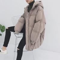 almohadillas para jóvenes al por mayor-Estilo Nuevo Sombrero Suelto Medio Largo Cálido Algodón acolchado Engrosado chaqueta para jóvenes Chaquetas y abrigos de invierno para hombre