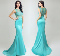 Wholesale Gold Fishtail Prom Dresses - New High-End Custom Spring And Summer Long Tail Formal Evening Dresses Round Neck Hand-Made Pintail Fishtail Party Prom Dresses HY040