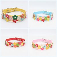 Wholesale dog collar leather fashion for sale - Leather Puppy Dog Collar Fashion Multi Colourful Flowers Creative Necklace Popular Exquisite Lovely Removable Collars Pet Supplies sz jj