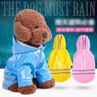 ingrosso cani da pioggia-5 colori con cappuccio Pet Dog PU impermeabile di riflessione impermeabile per cani di piccola taglia Chihuahua Yorkie Cane cappotto di pioggia Poncho Puppy Rain Jacket B