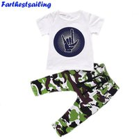 ingrosso vestito da bambino-T-shirt neonato bebè da bambino Tuta da bambino Ragazzi Outfit Bebé Boy Rock Gesture Top Camouflage Pants Outfit Set Clothes
