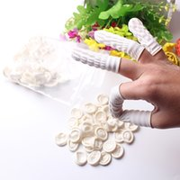 Wholesale Nail Tip Protector - 100Pcs White Eyebrow Gloves Disposable Latex Rubber Finger Cots Anti-static Protector Tip Cover Tattoo Nail Art Beauty Tool