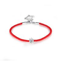 ingrosso braccialetto rosso stringato intrecciato-Bracciale da donna con cordino rosso corda BOAKO Colore argento / oro rosa Colore AAA CZ Bracciale con cordino intrecciato fortunato pulsera X7-M2