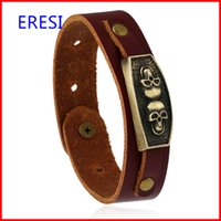 Wholesale make leather cuff bracelets - Made In Chain Skull Bracelet Charms Brown Wide Leather Cuff Fashion Jewelry