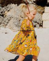 robes de fille de fleur de coton jaune achat en gros de-Détail Baby Girls Cartoon Jaune Fleur Imprimé Princesse Robe Halloween cosplay Enfants Automne À Manches Longues A-ligne Coton Robe Vêtements