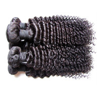 Wholesale black hair perm curly for sale - Factory Clearance Brazilian Human Hair Extensions Weaves Real Human Hair Material Made kg Pieces Kinky Curly Black Color