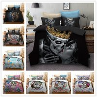 skull bedding großhandel-3D Skull Kuss auf Wiedersehen Bettwäsche Set Digitaldruck Bettbezug Set Kissenbezüge Twin Full Queen Super King Size Anpassbare
