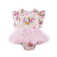 vestido de niñas mono corto al por mayor-Recién nacido bebés niñas mameluco floral tulle vestidos body mono manga corta ropa de algodón 0-18 m
