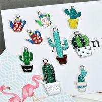 en forma de tetera al por mayor-Nuevo estilo 50 unids / lote esmalte de dibujos animados cactus / tetera forma aleación gota aceite flotante medallón colgantes encantos diy fabricación de joyas