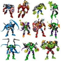 Wholesale Children Hero - New the Avengers super hero building lepin blocks assembly robot building block Superhero Captain America Hulk Children educational diy toys