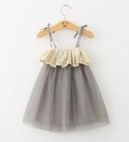 encaje de algodón vestido de tutú al por mayor-INS Flor de moda de verano vestidos de tutú vestido de niña sin mangas chaleco cinta algodón puro hilo de bebé vestido de encaje del bebé 2-6Year