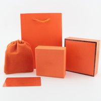 Wholesale Luxury Brand Jewelry Packaging Box set Paper bags Bracelets Necklace Box Cards Flannelette bags Original orange Gift Jewelry boxes