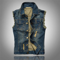 coletes jeans mens venda por atacado-Venda por atacado- 2016 Vendas Hot rasgado Jean Jacket Mens Denim Vest Plus Size M - 6XL Jeans Colete Homens Cowboy Marca Jaqueta Sem Mangas Masculino