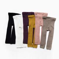 Wholesale Black Pantyhose Legs - New autumn winter baby infant double needle legging child trousers nine points pantyhose fashion kids leggings
