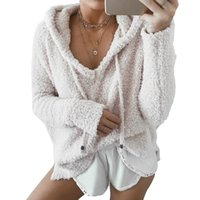 Wholesale purple mohair - Women Fluffy Mohair Hoodies Winter Spring Warm Soft Fleece Loose Sweatshirts Casual Drawstring V Neck Pullover Tracksuit