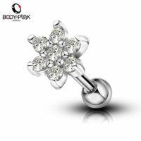 cartilage body jewelry 2018 - Body Punk 1 pc Body Piercing Jewelry Silver Rose Gold With Clear CZ Flower Shape Cartilage Earrings Stud Tragus Flat Earrings