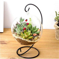 ingrosso ornamenti da giardino di vetro-vendite calde all'ingrosso palla rotonda con un buco fiore pianta idroponica appeso vaso di vetro contenitore casa ornamento vaso vasi da fiori giardino