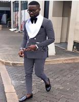 noktalı ceket toptan satış-Yeni Yüksek Kalite Damat Smokin Kruvaze Lacivert Nokta Şal Yaka Groomsmen İyi Adam Suit Erkek Düğün Takımları (Ceket + Pantolon + Kravat)