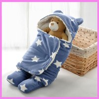 Wholesale Kangaroo Baby Bag - Flannel Fleece Soft Touch Baby Swaddle Blanket Sleeping Bag Bear Ear Winter Travel Outdoor Swaddling Kangaroo Sleep Sack Carrier