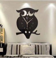 baykuş oda dekoru toptan satış-Yaratıcı 3D DIY Baykuş Duvar Saati Akrilik Çıkartmalar Kuvars Duvar Saatleri Oturma Odası Mutfak Duvar Saatleri Oturma Odası Ev Dekor 60025