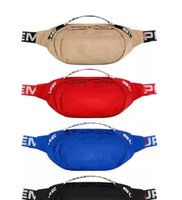 Wholesale red stripe pillow - Designer Bags men women Waist bags 18ss 44th Waist pack red black blue brown Beach bags with tags packing