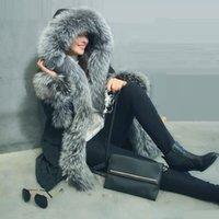 mink kadın ceketleri toptan satış-2017 Yeni Avrupa tarzı Moda Gerçek Tilki Kürk Ceket Kadınlar Sıcak Kış Kürk Uzun Lüks Kalın Kadın Ceket Vizon
