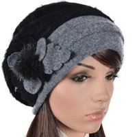 Wholesale French Hats Beret - Womens Angora French Beret Fur Beanie Floral Berets Lined Skullcap Winter Hat FORBUSITE