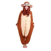 trajes de macaco para adultos venda por atacado-Urso polar Macaco Animal Pijama Anime Homens Mulheres Casais de Inverno Pijama Cosplay Dos Desenhos Animados Adultos Onesies Quente Halloween Traje