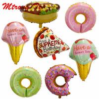 lolipop balonları toptan satış-50 adet Donuts Lolipop Pizza Dondurma Sıcak Köpek Doğum Günü Partisi Düğün Balonlar Dekorasyon Serpin Donut Folyo Helyum Balon