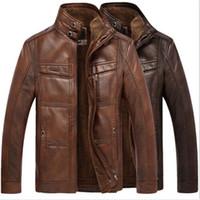 casaco de trincheira com pele de inverno venda por atacado-Homens de inverno quente casaco de pele de revestimento de pele de couro genuíno outwear trincheira acolchoado