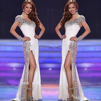 Wholesale Miss Usa Gowns - 2018 New One Shoulder Rhinestones Mermaid Prom Dresses Long Sleeves High Split Evening Dress Jewel Illusion Applique Misses USA Party Gowns
