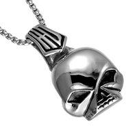 rock schädel anhänger großhandel-Herrenmode Rock Anhänger Schädel Legierungen Titan Silber Anhänger Halskette Edelstahl Schmuck