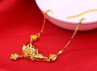 ingrosso solitario di oro giallo-pesante Heay! Spedizione gratuita moda fiore 24 k vero giallo solitario catena d'oro collana 45 cm monili delle donne