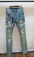 ingrosso pesanti jeans-uomo pesante distrutto pittore splatter tratto skinny skinny jeans super afflitti denim