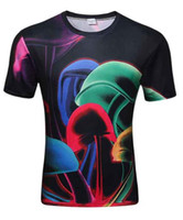 Wholesale mushrooms men - 2018 Newest summer Fashion 3D Colored mushrooms printing T-shirt Men Women's Short Sleeve Summer Tops Tees Couple 3D Comics T-shirt