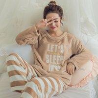 boy korece sevimli çizgi film toptan satış-2018 Yeni Kore Sonbahar Kış kadın Mercan Polar Nighty Pijama Sevimli Karikatür Kalın Büyük Boy Rahat Yumuşak Pijama Takımı