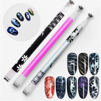 Wholesale image tool for sale - 3 Colors Double Head Cat Eye Magnet Pen Magic blossom Image Line Strip Effect Strong Magnetic Pen Nail Makeup Tool