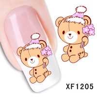 Wholesale Nail Stickers Girls - Waterproof Water Transfer Nails Art Sticker Cartoon Bear Design Girl And Women Manicure Tools Nail Wraps Xf1205