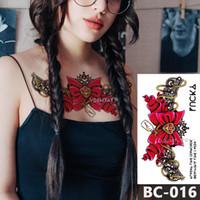 geçici yay dövmeleri toptan satış-1 Sayfalık Göğüs Vücut Dövme Geçici Su Geçirmez Takı Yıldız ay yay dantel desen Çıkartması Bel Sanat Dövme Etiket Kadınlar için