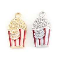 43aff834cda5 24   12mm pulseras de palomitas de maíz Charm colgantes plata oro esmalte  aleación Metal palomitas de maíz cuelgan los encantos para la fabricación  de joyas
