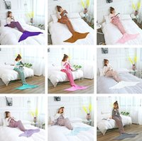 Wholesale costume hands - 180*90cm Adults Fashion Knitted Mermaid Tail Blanket Super Soft Warmer Blankets Bed Sleeping Costume Air-condition Knit Blanket T2I379