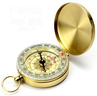 Wholesale style compass keychain resale online - Silver Golden Copper G50 Portable Travel Hiking Outdoor Classic Brass Compass Camping Pocket Watch Style Compass Keychain Flip Noctilucence