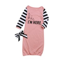 Wholesale single bedding sets - Infant Sleeping Bags Nursery Bedding Baby girls Kids clothes Long sleeved letters stripe pattern baby sleeping bag hair band sets 1909
