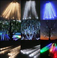 arbres de jardin éclairés led achat en gros de-30cm LED Lumières Météor Douche Pluie 8Tube De Noël Arbre En Plein Air Lumière De Noël De Mariage Jardin Décoration KKA5016