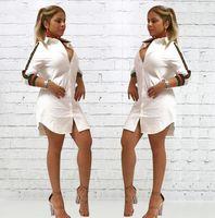seksi eski gömlek toptan satış-Bayan Gevşek Derin V Yaka Rahat Elbise Seksi T Shirt Vintage Turn-aşağı Yaka Baskı Elbise 2018 Spr Kadınlar Uzun Kollu Düğme Gece Kulübü Elbise