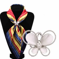 Wholesale gold butterfly pins resale online - 1PC Butterfly Women s Rhinestone Tricyclic Scarves Gift Brooches Hot Charming Gold Color NScraf Buckle