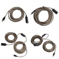 câbles usb blindés achat en gros de-Câble de rallonge USB 2.0 SuperSpeed répéteur 5M / 10M / 15M / 20M mâle à femelle M / F CI intégré Double blindage de haute qualité