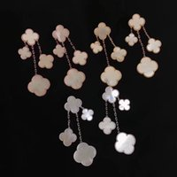 Wholesale Fine Pearl Earrings - Korean fashion classic fine long flower brass high quality woman dress wild earrings